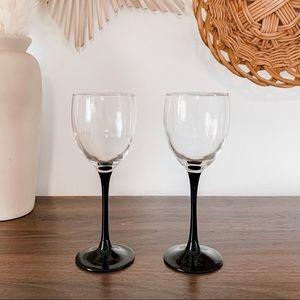 Pair of French Black Stemmed Petite Wine Glasses